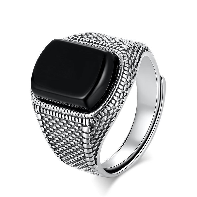 Jewelry Exaggerated-Ring Opening Domineering Geometric Black Agate Niche-Design Adjustable