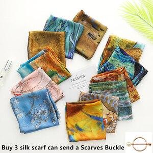 70cm*70cm Women scarf Luxury Van Gogh fashion head scarf Silk Scarf Women shawls Girl Wraps Hair Tie bandana scarf luxury