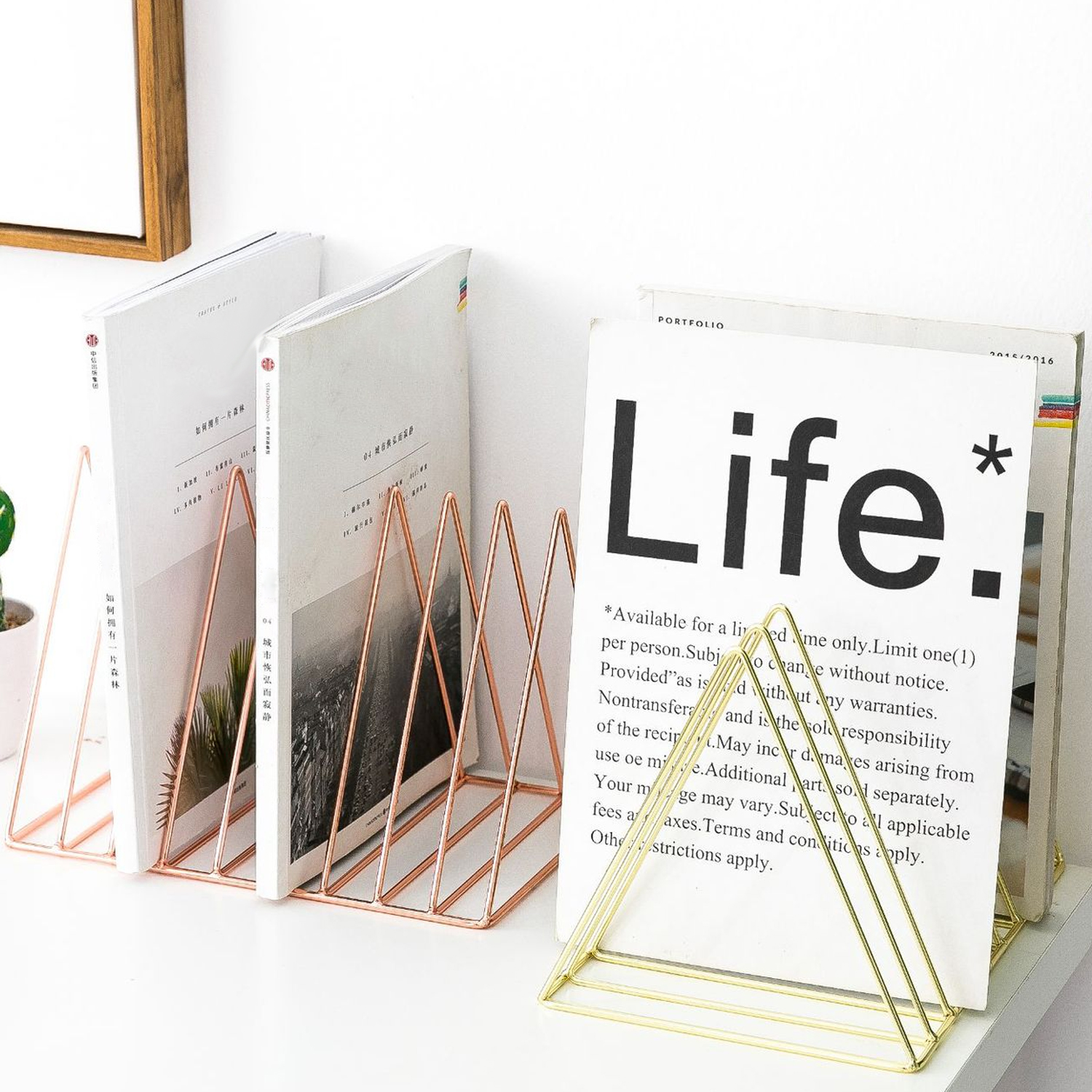 9 Slot Triangle Magazine Rack Desktop Iron Wire Book Record File Holder Storage Organizer Bookshelf For Home School Office Decor