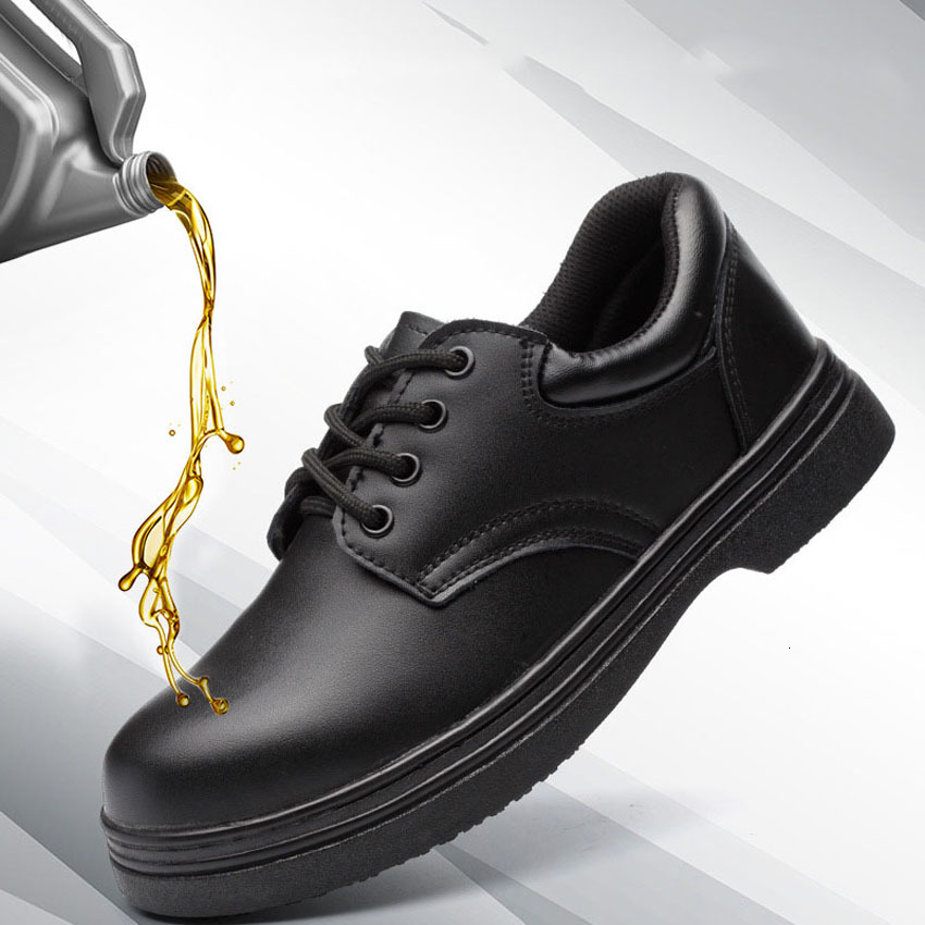 Oil Water Proof Leather Shoes For Man Chef Uniform Kitchen Wear Anti-slip Breathable Food Service High Quality Shoes For Woman