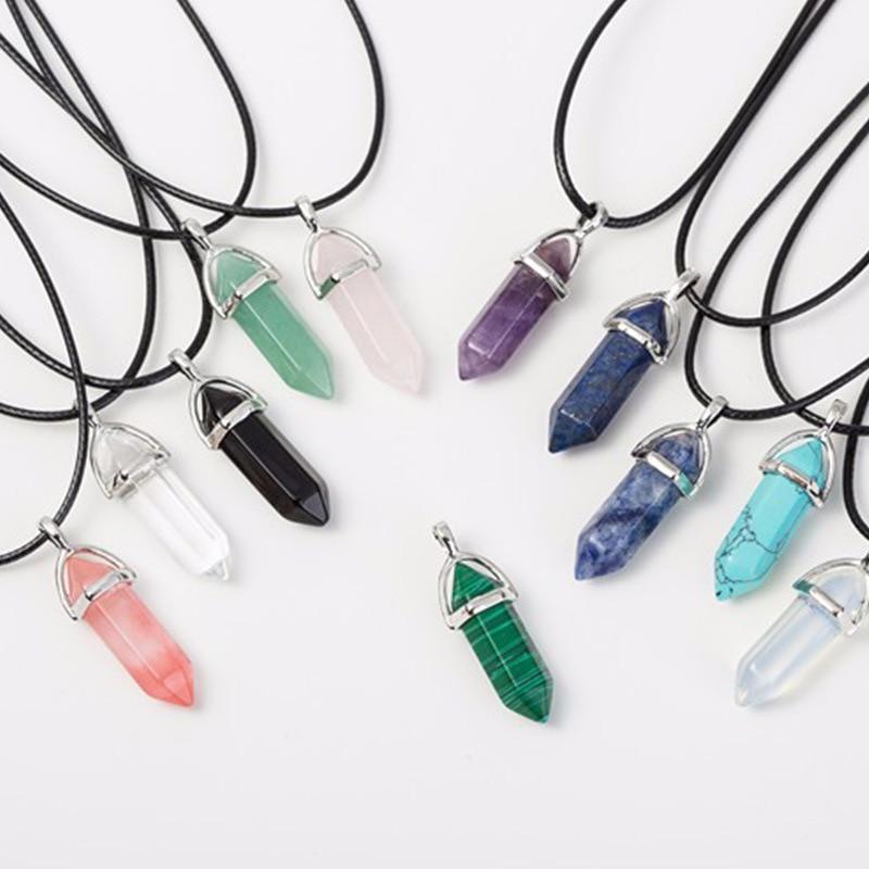 1 шт. ожерелье из природных кристаллов шестиугольная пуля Рейки Чакра драгоценный камень кулон для женщин ювелирные изделия
