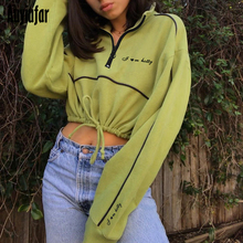 Auyiufar Streetwear Fashion Womens Sweatshirt Zipper Letter Long Sleeve Drawstring Crop Top Casual New Skinny Sporty Pullovers
