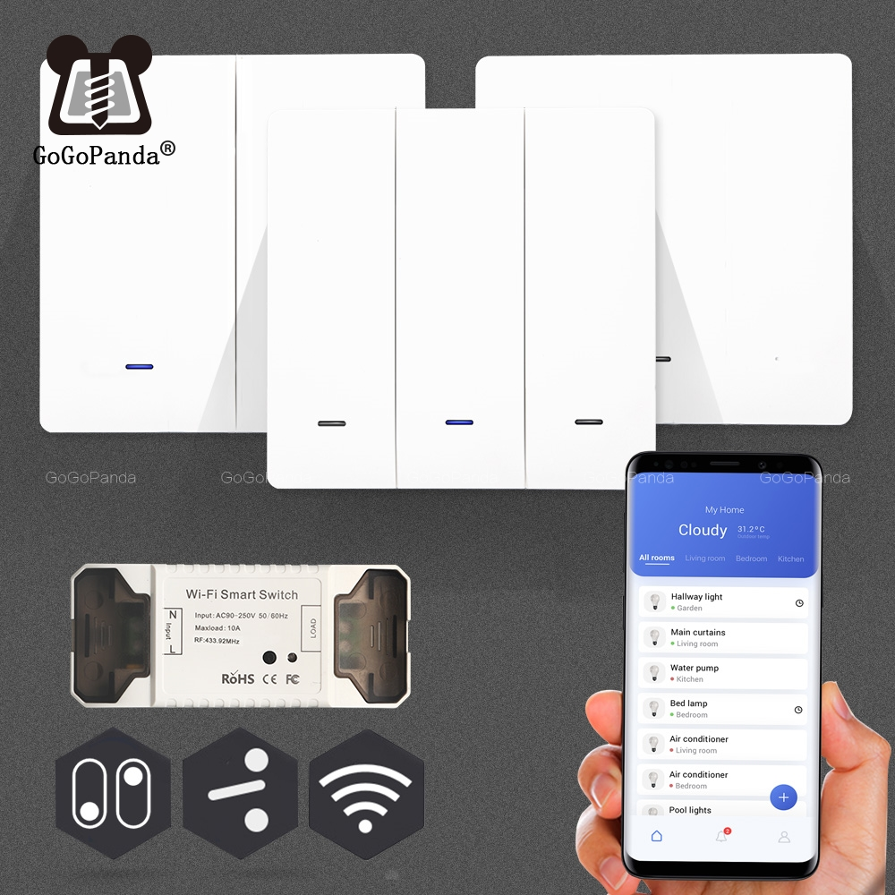 Smat 1/2/3 Gang Push Light Switch Wireless Control Receiver Panel Button Wall Lamp RF Wifi On/off Interrupter Device Tuya App(China)