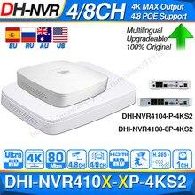 Dahua original 4k poe nvr NVR4104-P-4KS2 NVR4108-8P-4KS2 com 4/8ch poe h.265 gravador de vídeo suporte onvif 2.4 sdk cgi