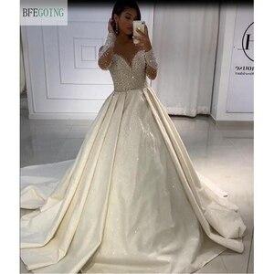 Image 3 - Ivory Satin Beading Crystal Long Sleeves Scoop  Floor Length A line Wedding dress Chapel Train Custom made