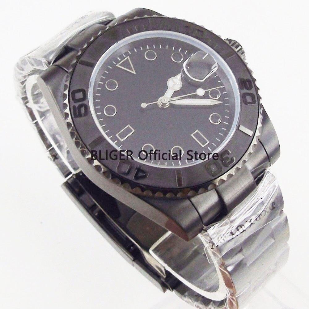 Klassische BLIGER 40mm Schwarz Sterile Zifferblatt Edelstahl PVD Beschichtet Fall Sapphire Leucht Miyota Automatische Bewegung herren Uhr-in Mechanische Uhren aus Uhren bei  Gruppe 2