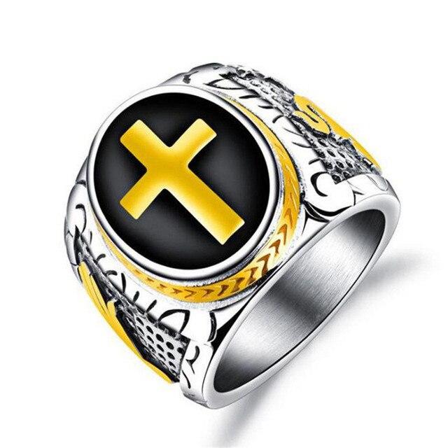 Croix Religion anneau hommes Hip Hop Rock christianisme anneaux pour hommes or argenté bijoux Vintage anneau hommes femmes Punk fête anneaux