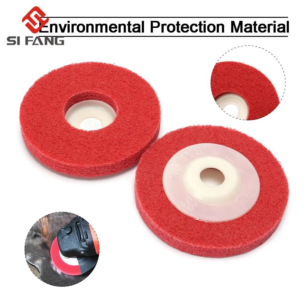 """5Pcs 4/""""Non-woven Scouring Polishing Pad Abrasive Nylon Fiber Grinding Wheel 180#"""