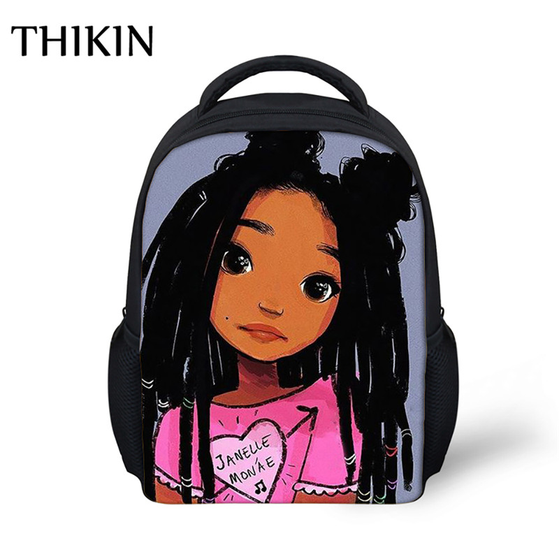 THIKIN Cartoon Cute Afro Girl School Bag Children South Backpack Back To School Kids Kindergarten Backpack Baby Toddler Bag