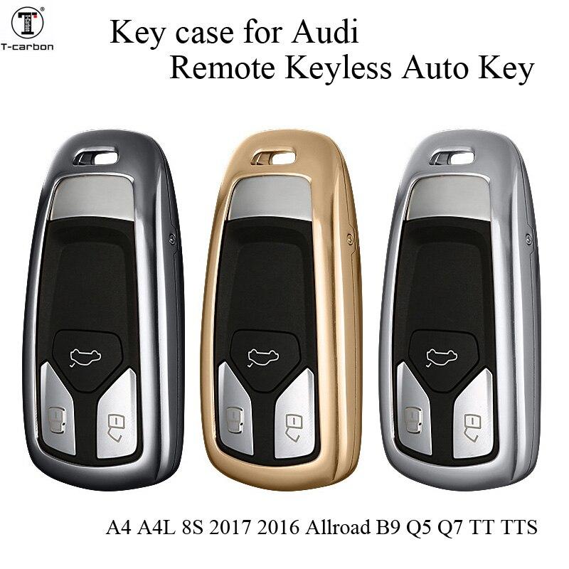 Voiture en alliage d'aluminium etui clés pour Audi A1 A2 A3 A4 A5 A6 A7 TT Q3 Q5 Q7 R8 S6 S7 S8 SQ5 RS5 flip pliant à distance protégé
