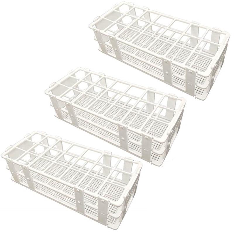 3 embalagens de Plástico Rack de Tubo de Ensaio, 21 Buracos Titular Rack de Tubo de Ensaio de Laboratório para 30 milímetros Tubos de Ensaio, branco, Destacável (21 Buracos)