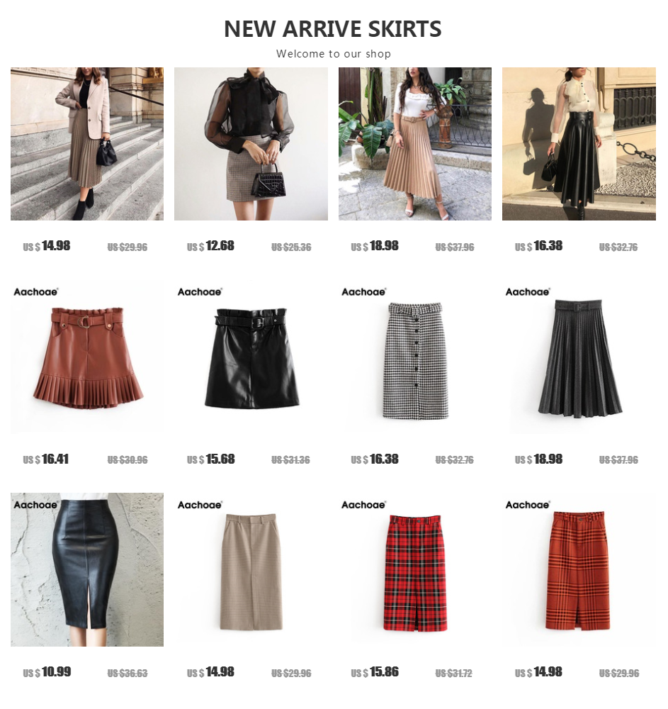 Aachoae Black PU Leather Skirt Women 2020 New Midi Sexy High Waist Bodycon Split Skirt Office Pencil Skirt Knee Length Plus Size 23