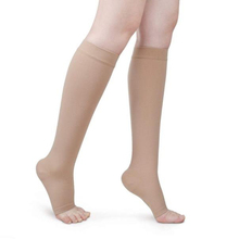 S-XL Elastic Open Toe Knee High Stockings Calf Compression Stockings Varicose Veins Treat Shaping Graduated Pressure Stockings