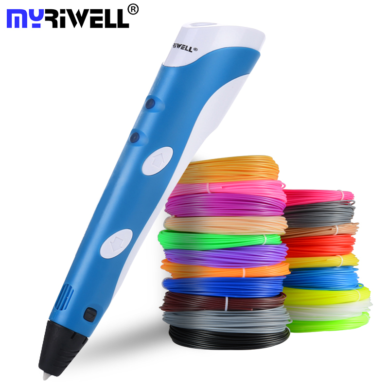 Myriwell 3d caneta original diy 3d impressão, caneta com 100m abs/pla filamento criativo brinquedo, presente para crianças desenho de design