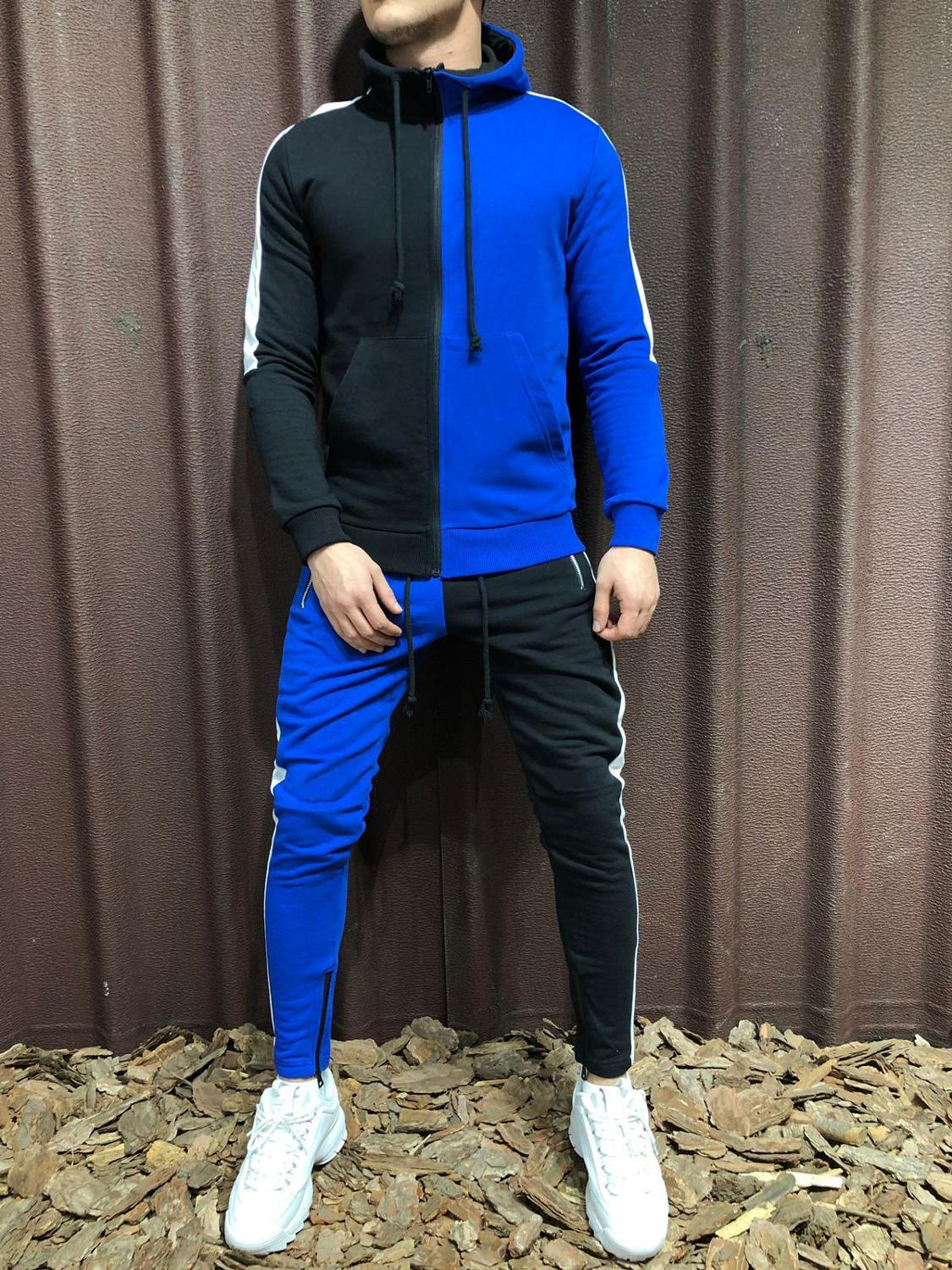Brand New Men Sets Fashion Autumn Thin Patchwork Jacket Sporting Suit Hoodies+Sweatpants 2 Pieces Sets Slim Tracksuit clothing