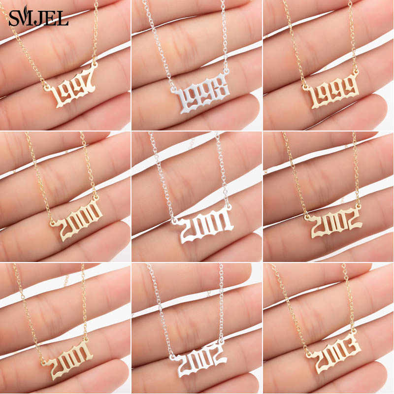SMJEL Custom Jewelry Special Date Year Number Necklaces for Women 1983 1987 1996 Personalized Old Eanglish Necklace Collares