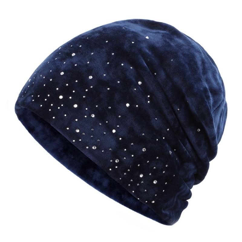 Новинка, модная женская шапочка, блестящие стразы, Осень-зима, Женская Повседневная шапка, Женская бархатная мягкая шапка Skullies Bonnet - Цвет: Navy-1