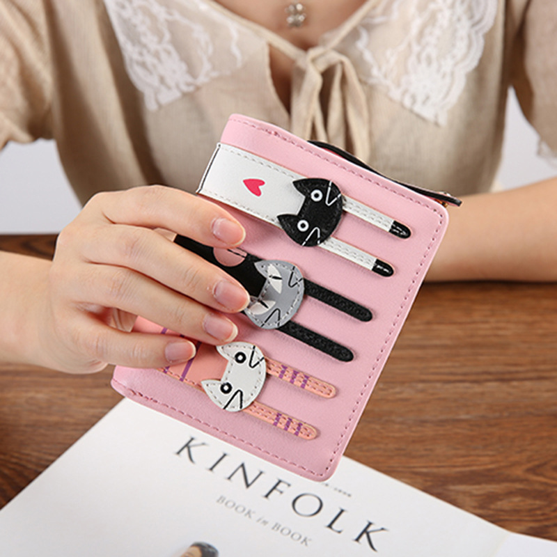 PU Leather Women Wallet Coin Card Holders Wallet Ladies Functional Clutch Purse Lovely Cartoon Cute Cat Short Wallet Women in Wallets from Luggage Bags