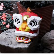 цены Paper DIY China Lion Dance Stage Mask Model material manual creative Head Mask Party Masquerade show props lovely hand made Gift