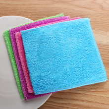 1PC Anti-grease Dish Cloth Bamboo Fiber Washing Towel Scouring Pad Magic Cleaning Rags Kitchen Household Supplies Cleaning Tools