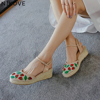 NIKOVE 2020 Ankle Strap Summer Sandals Women Pumps Shoes Leather+PU Wedge High Heel Black Round Toe Fashion Shoes Size 34-39