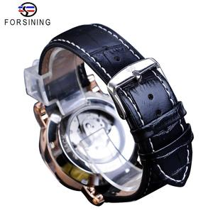 Image 5 - Forsining Simple Men Mechanical Watch Automatic Sub Dial Black Ultra thin Analog Genuine Leather Band Wristwatch Horloge Mannen