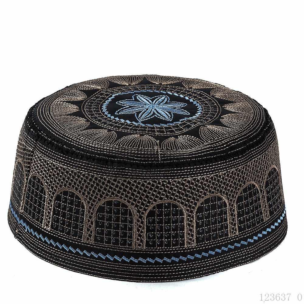 2020 สีดำเย็บปักถักร้อยมุสลิมหมวกสำหรับชายซาอุดีอาระเบียอินเดีย Bonnet musulman อิสลามเสื้อผ้าอุปกรณ์เสริมอาหรับชาวยิวหมวก