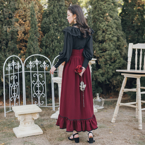 Image 2 - YOSIMI 2020  Two Piece Set Full Sleeve Blouse Top and Plaid Skirt and Top Set Women Two Piece Outfits Black Shirt Lantern Sleeve