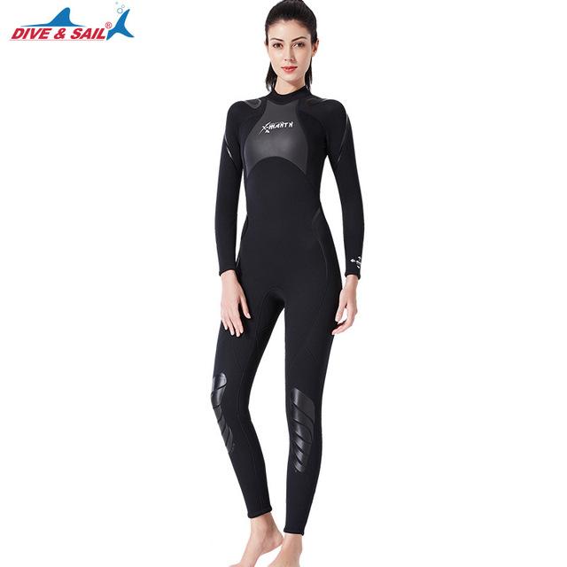 Dive&Sail Men Women 3mm Neoprene One Piece Wetsuit Long Sleeve Full Body Warm Rashguard Diving Swimming Surf  Scuba Wet Suits
