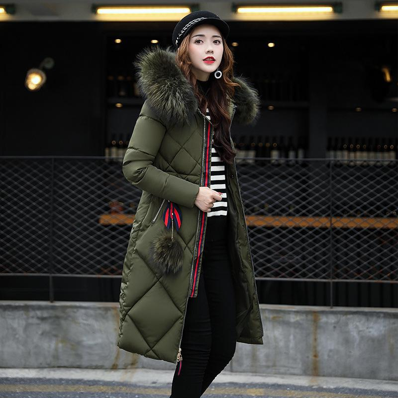 Off Season Cotton-padded Clothes Women's Autumn & Winter Thick Long Large Fur Collar Down Jacket Cotton-padded Clothes Loose-Fit