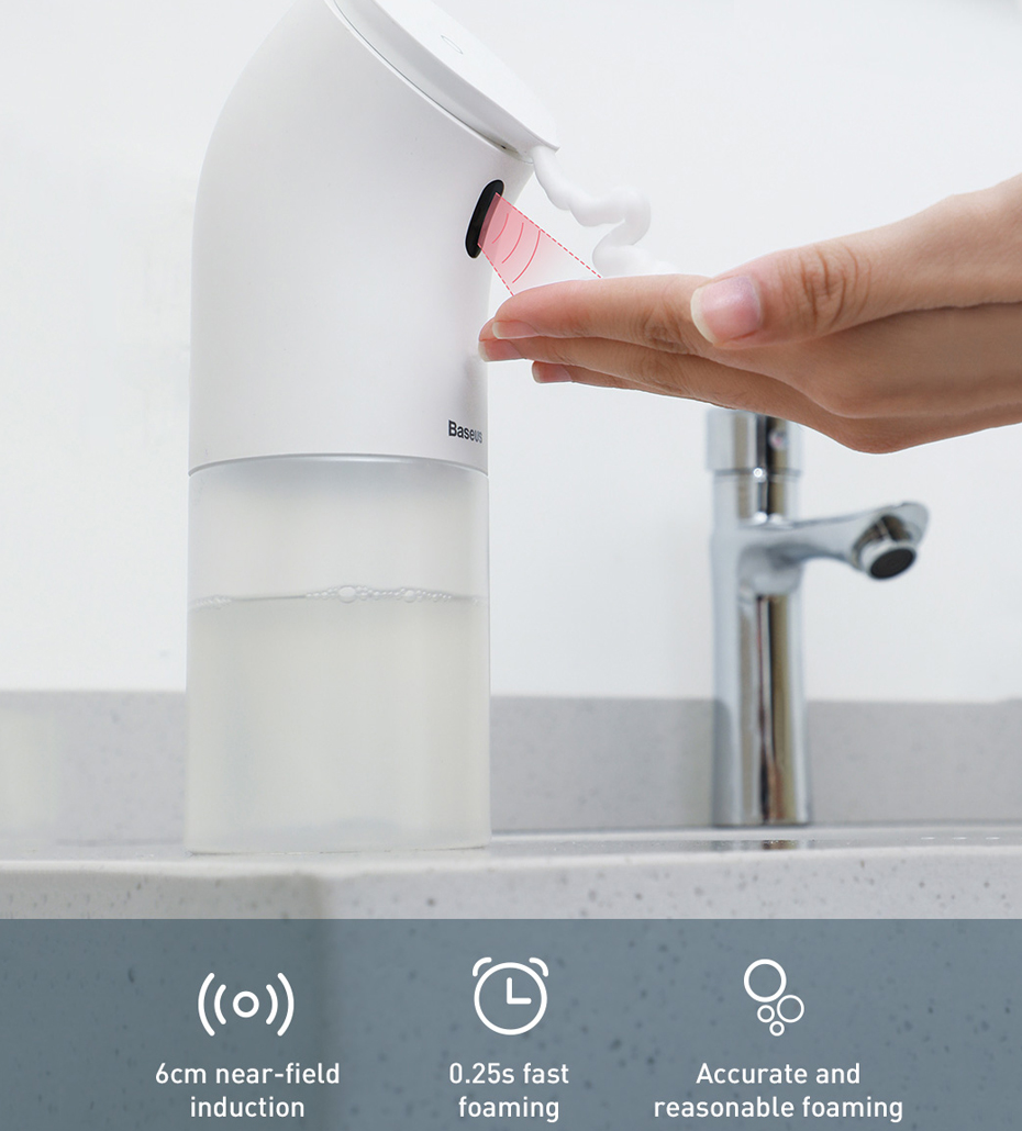 H41d18a5518e041cab43c9ad87a38910ah Baseus Intelligent Automatic Liquid Soap Dispenser Induction Foaming Hand Washing Device for Kitchen Bathroom (Without Liquid)