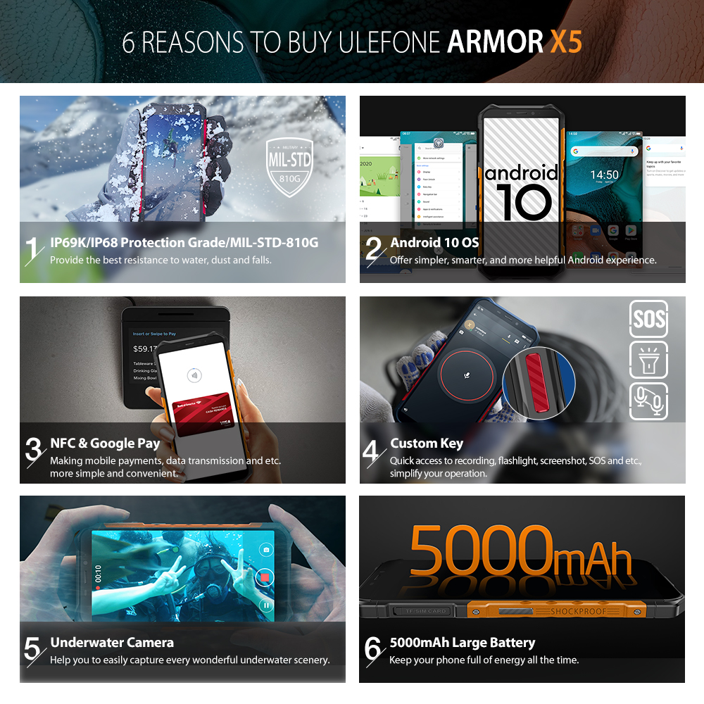 Ulefone Armor X5  Android 10 Rugged Waterproof  Smartphone IP68 MT6762 Cell Phone 3GB 32GB Octa core NFC  4G LTE Mobile Phone 2