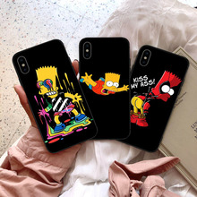 GYKZ Funny Homer J.Simpson Black Silicone Phone Case For iPhone 7 11 Pro XS MAX XR X 8 6 6s Plus 5 Cartoon Soft Matte Back Cover
