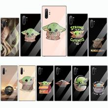 Cartoon Baby Yoda Meme DIY Painted Bling Phone Case Tempered glass For