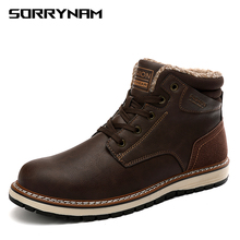 Brand Super Warm Mens Winter Leather Men Waterproof Rubber Snow Boots Leisure England Retro Shoes For Big Size
