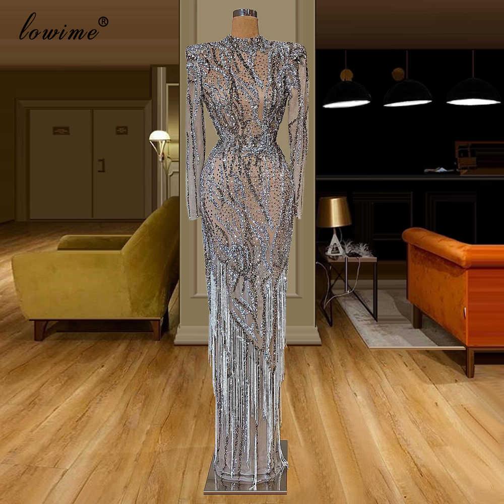 فستان سهرة مثير مصنوع يدويًا ثقيل 2020 طويل مطرز بكريستال رسمي للحفلات الراقصة مع شرابات دبي للمشاهير