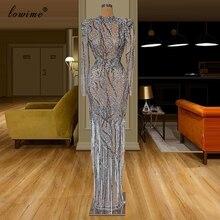 Ağır el yapımı seksi Illusion abiye 2020 uzun boncuk kristaller örgün balo elbise püsküller ile Dubai ünlü Vestidos