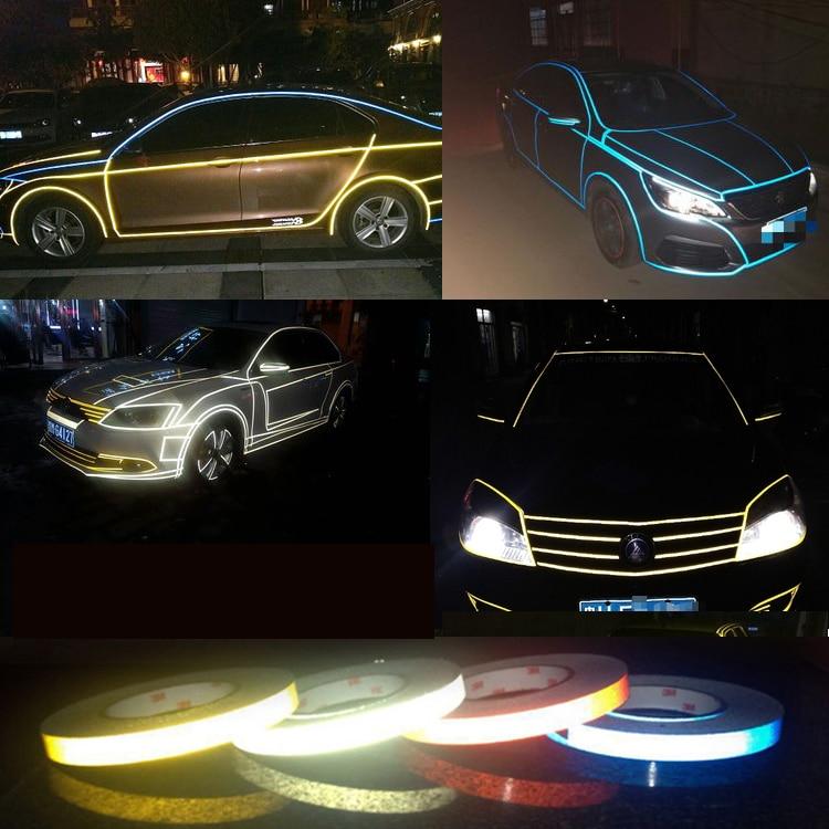 DIY Auto Stickers Reflective Luminous Tape Bike Motorbike Truck Night Light Shining Warning Adhesive Glow Paper Car Accessories
