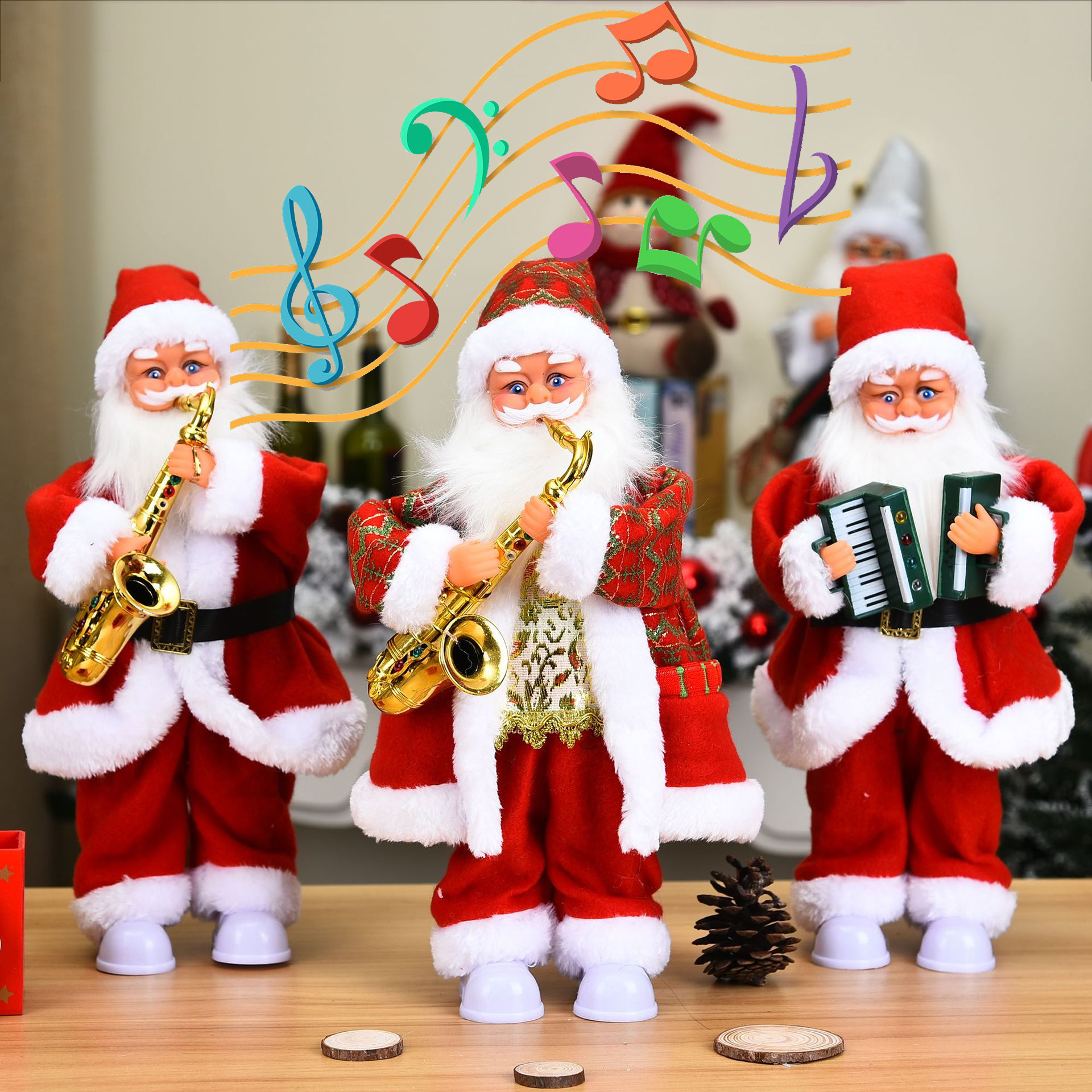 Новогодние 2021 рождественские украшения для дома, электрическая игрушка с музыкой 14 на саксофоне, играющая в белые ножки Санта Клауса с подсветкой Кулоны и подвески      АлиЭкспресс
