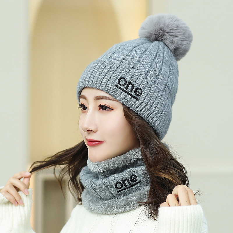 Fashion Winter Hat And Ring Scarf Set Two-Piece Women Thicken Winter Letter One Female Hats Scarves Unisex Beanie Hat Keep Warm