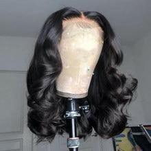 Onda do corpo curto bob peruca 13x4 frente do laço peruca de cabelo humano brasileiro remy cabelo 4x4 encerramento peruca prepluck 180% densidade para preto