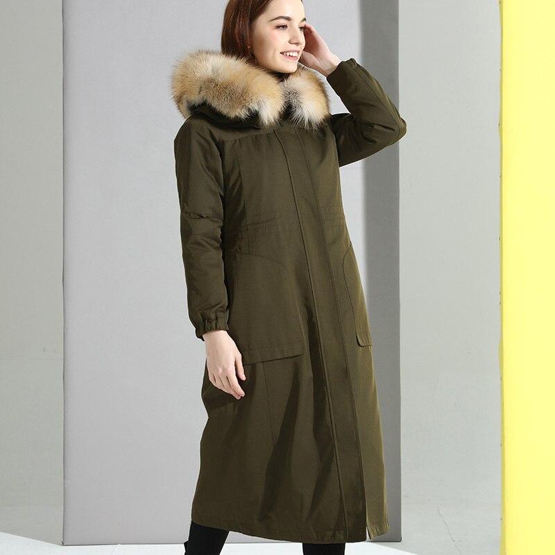 Parka Fur Real 2020 Winter Jacket Women Natural Rabbit Fur Liner Long Coat Female Real Raccoon Fur Collar Outwear MY3597