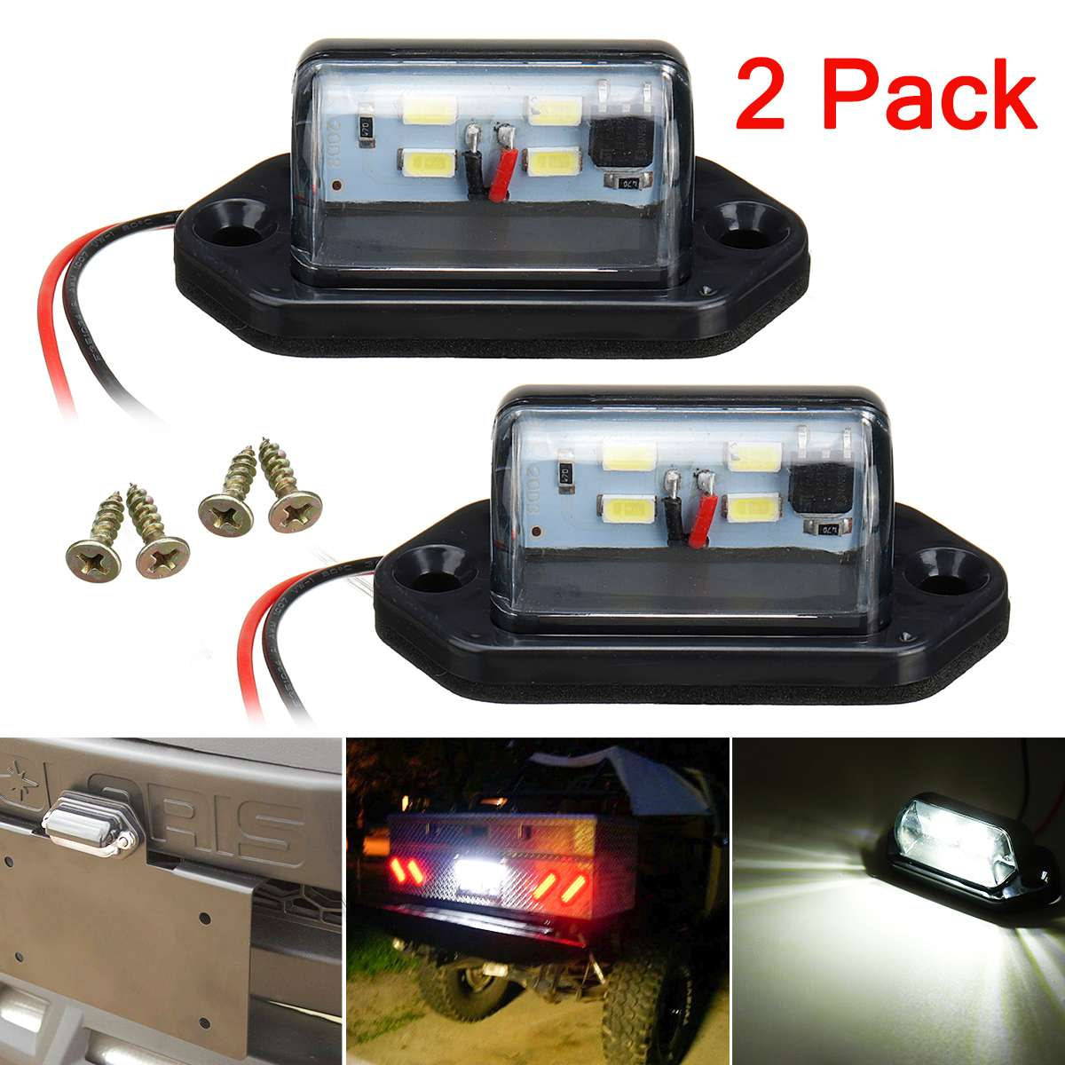 2pcs 12V 24V 4 LEDs LED Car Truck Number License Plate Light Rear Lamp Tail Light For Trailer Boat RV