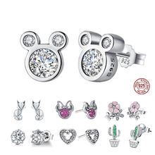 Bisaer Del Commercio All'ingrosso 925 Orecchini in Argento Sterling Donne Del Fumetto Del Mouse Animale Dolphin Cat Scintillante Minnie Gioielli in Argento 925(China)