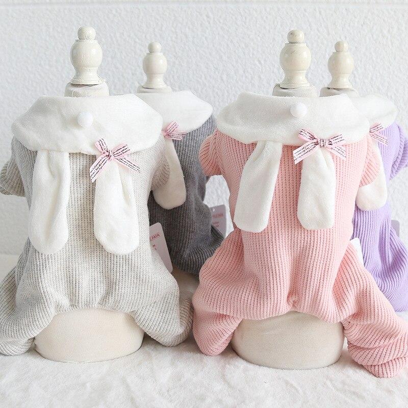 Одежда для собак в полоску с кроликом, зимний теплый банный халат для собак, комбинезоны, пижамы для собак, толстые пальто, одежда для собак, Тедди|Комбинезоны и ромперы|   | АлиЭкспресс