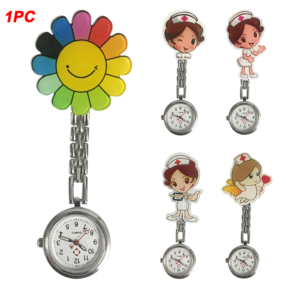 Women Stethoscope Round Dial Clip Fashion Gift Durable Lapel Hanging Pin Buckle Cute Cartoon Nurse Watches Medical