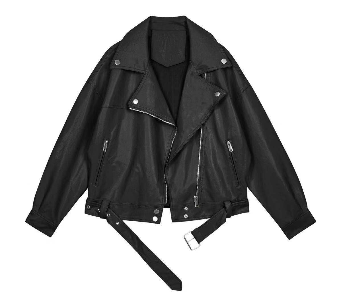 2021 New Spring Women Pu Leather Motorcycle Jacket Female With Belt Solid Color Jackets Ladys Loose Casual Jacket