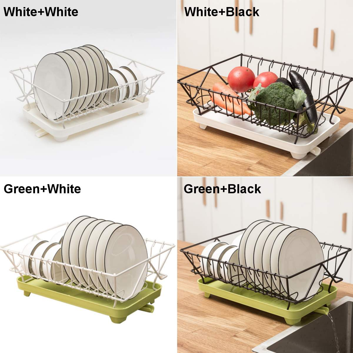 New Stainless Steel Dish Drainer Drying Rack Stand With Removable Rust Proof Utensil Holder For Kitchen Counter Storage Rack