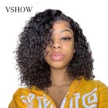 VSHOW 13x4 Water Wave peruki z krótkim bobem wstępnie oskubane z dzieckiem włosy ludzkie włosy peruka dla kobiet 130 Remy koronki przodu brazylijski włosy peruki