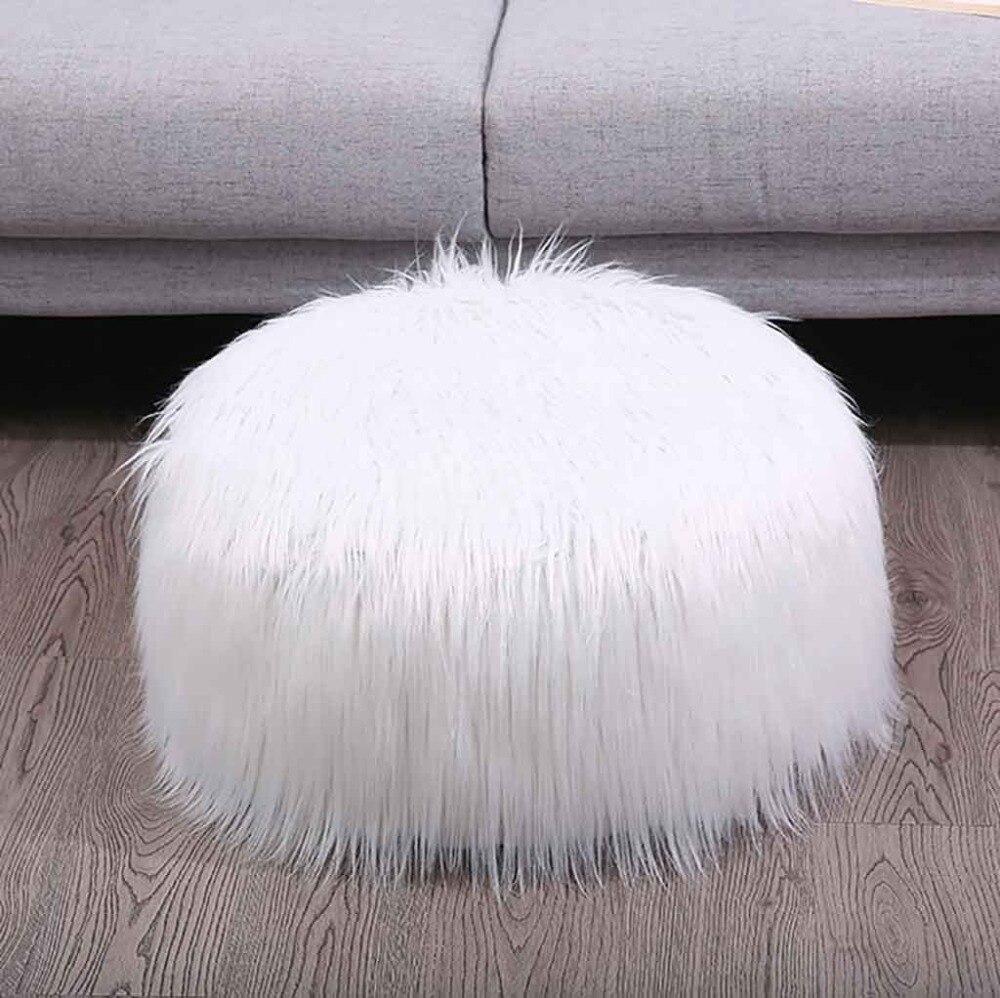 Plush Sofa Stool Futon Mat Inflatable Portable Round Footstool European Style (11)